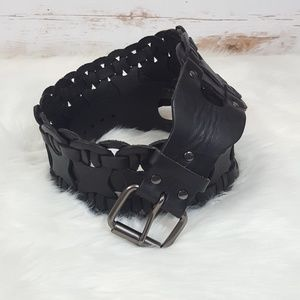 Wide Black Leather Belt Woven Waist Corset Edgy
